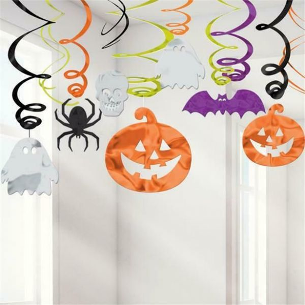 Halloween Pumpkin, Skull and Bat Hanging Swirls- (30 pack)